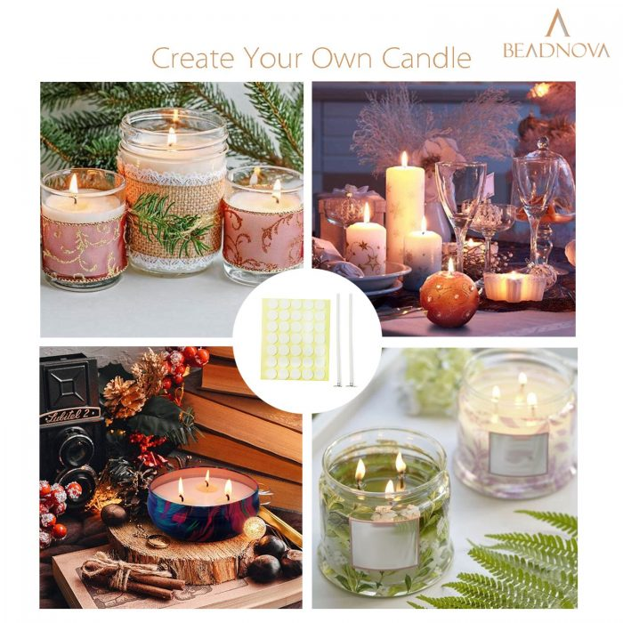 BEADNOVA Candle Wicks with Double Sided Candle Wick Stickers for DIY Large Candle Supplies(Large, 6 Inch, 50pcs)