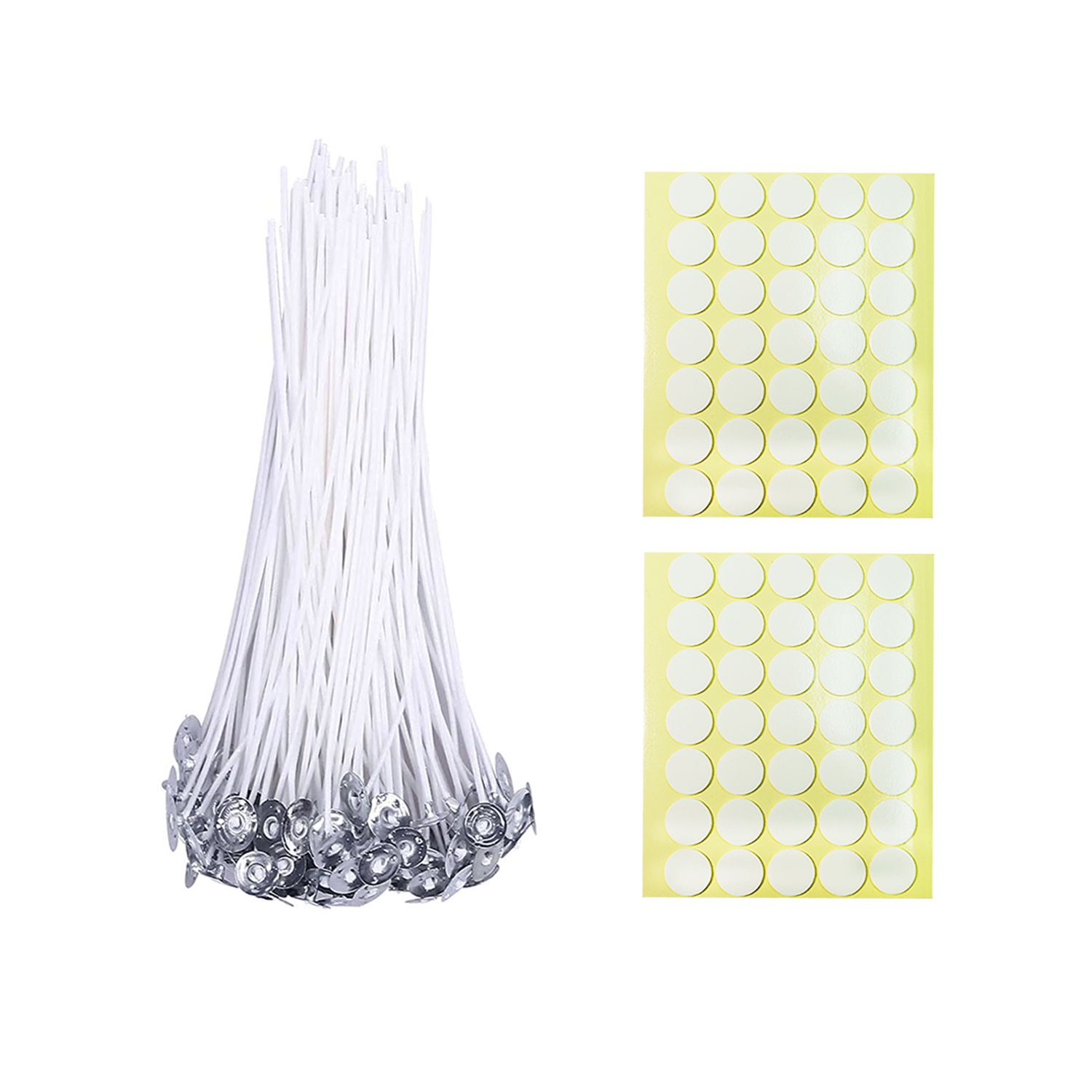 BEADNOVA Cotton Wicks with Candle Stickers for Candle Making DIY Supplies (Large, 8 Inch, 50pcs)