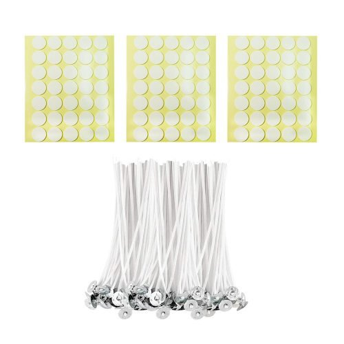 BEADNOVA Candle Cotton Stings with Wick Stickers for Short Candle Making Supplies (4 Inch, 100pcs)