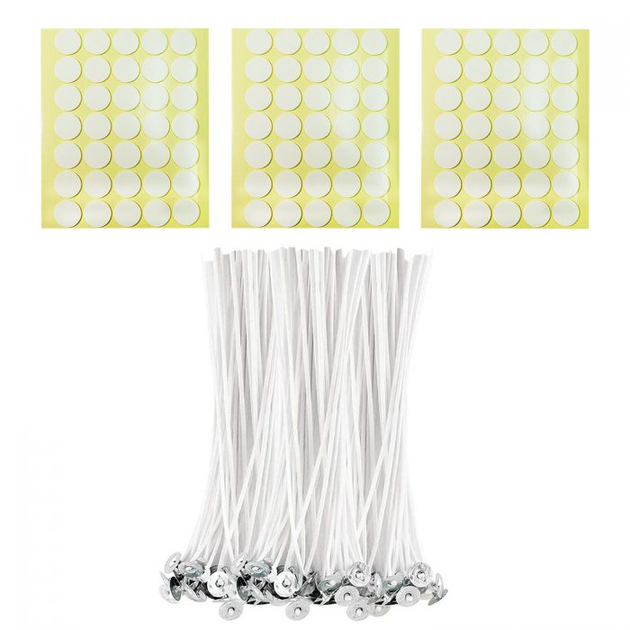 BEADNOVA Cotton Candle Strings with Wick Stickers for DIY Candle Supplies ( Large, 8 Inch, 100pcs)