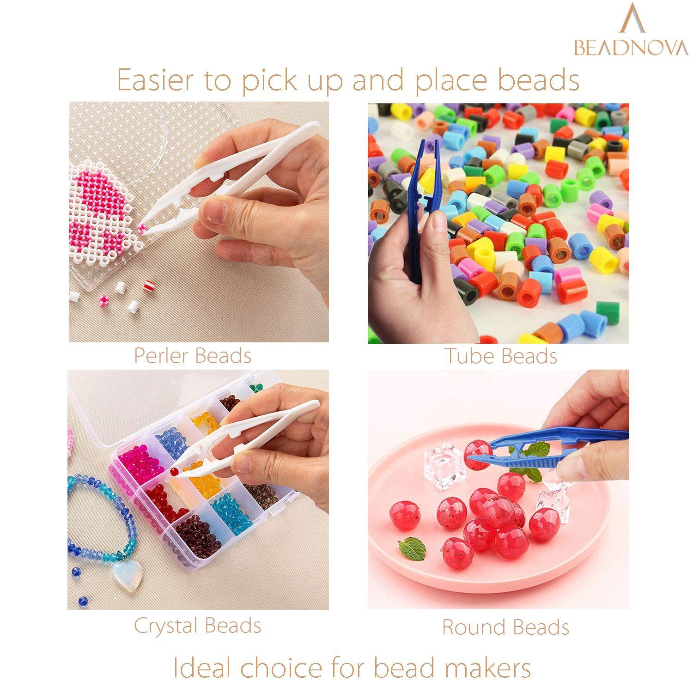 BEADNOVA Bead Tweezers Plastic Forceps Craft Tweezer for DIY Craft Jewelry Making Family School Beading Project (Assorted Colors, 5 Pcs)