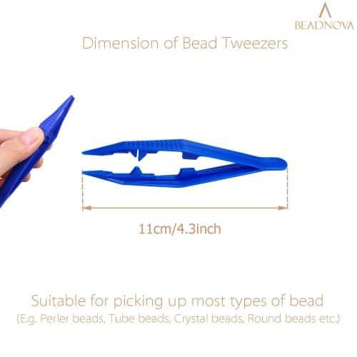BEADNOVA Bead Tweezers 25pcs Plastic Forceps Craft Tweezer for DIY Craft Jewelry Making Family School Beading Project (Assorted Colors)