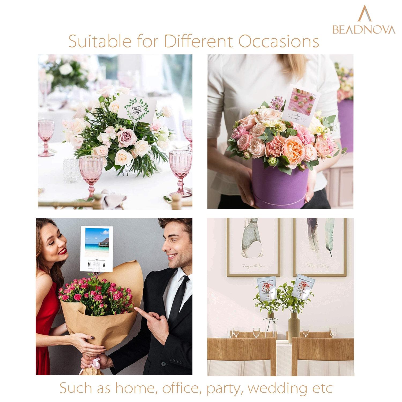 BEADNOVA Floral Card Holder Picks 50pcs 13inch Flower Pick Plastic Floral Pick Holder for Card Photos Wedding Birthday Party Decoration (Heart Shape Head)