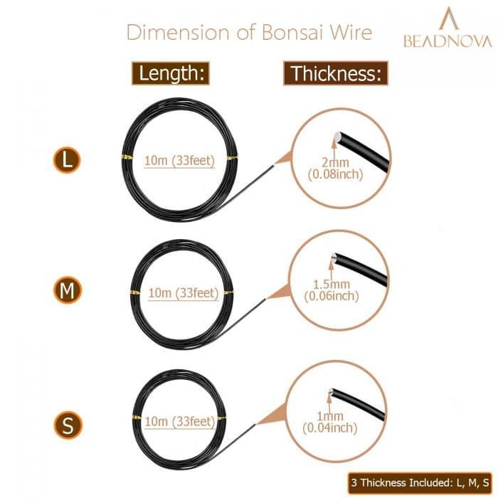 BEADNOVA Bonsai Wire 33 Feet Black Bonsai Training Wire Aluminum Plant Training Wire for Bonsai Plant (Black, 3 Sizes, 30m)