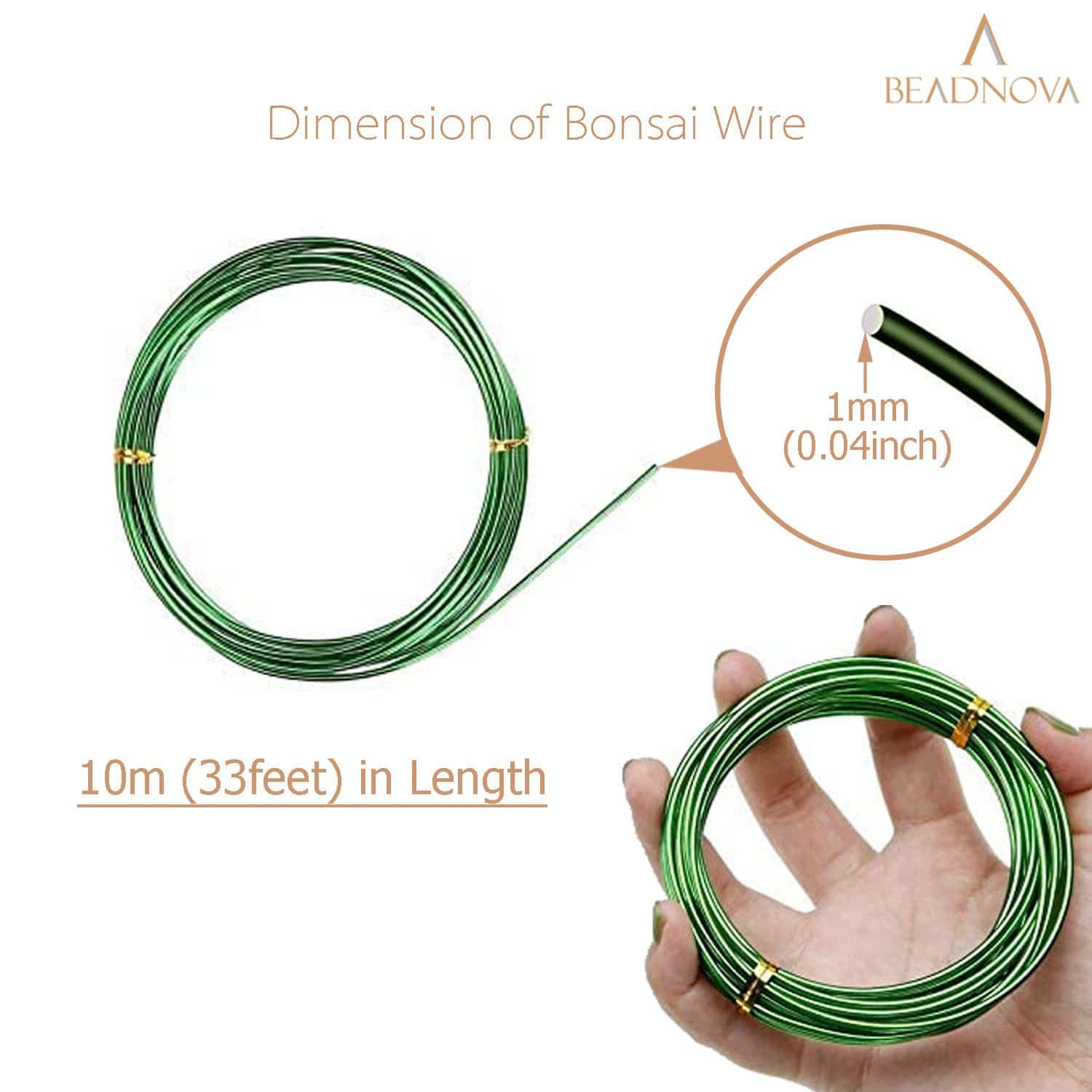 BEADNOVA Bonsai Tree Wire 33 Feet Green Aluminum Wire Bonsai Tree Training Wire for Indoor and Outdoor Bonsai Plant (Green, 1mm, 30m)
