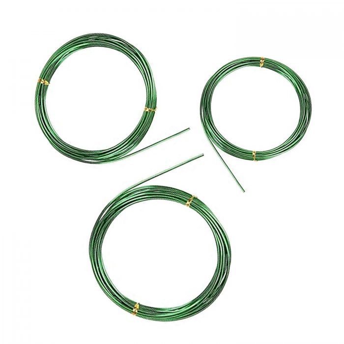 BEADNOVA Plant Training Wire 33 Feet Green Bonsai Tree Wire Aluminum Plant Wire for Training Indoor and Outdoor (Green, 2mm, 30m)