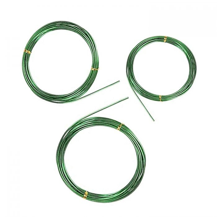 BEADNOVA Bonsai Wire 33 Feet Green Bonsai Training Wire Aluminum Plant Training Wire for Bonsai Plant (Green, 3 Sizes, 30m)