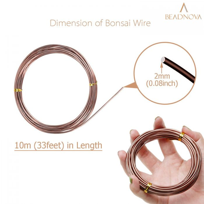 BEADNOVA Plant Training Wire 33 Feet Copper Bonsai Tree Wire Aluminum Plant Wire for Training Indoor and Outdoor (Copper, 2mm, 30m)