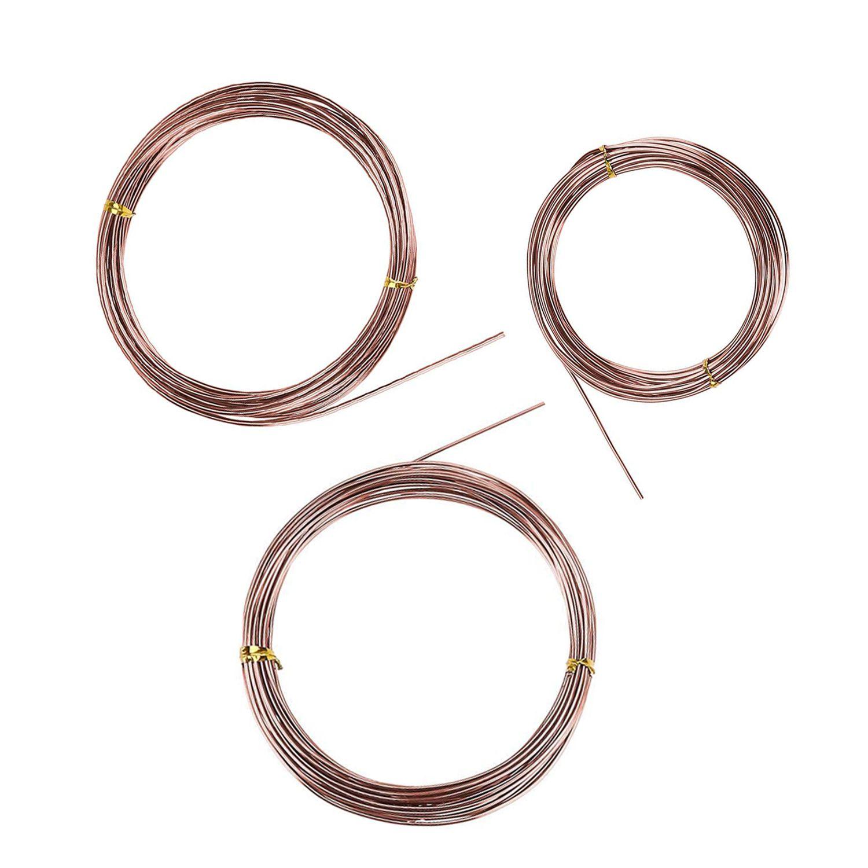 BEADNOVA Bonsai Wire 33 Feet Copper Bonsai Training Wire Aluminum Plant Training Wire for Bonsai Plant (Copper, 3 Sizes, 30m)