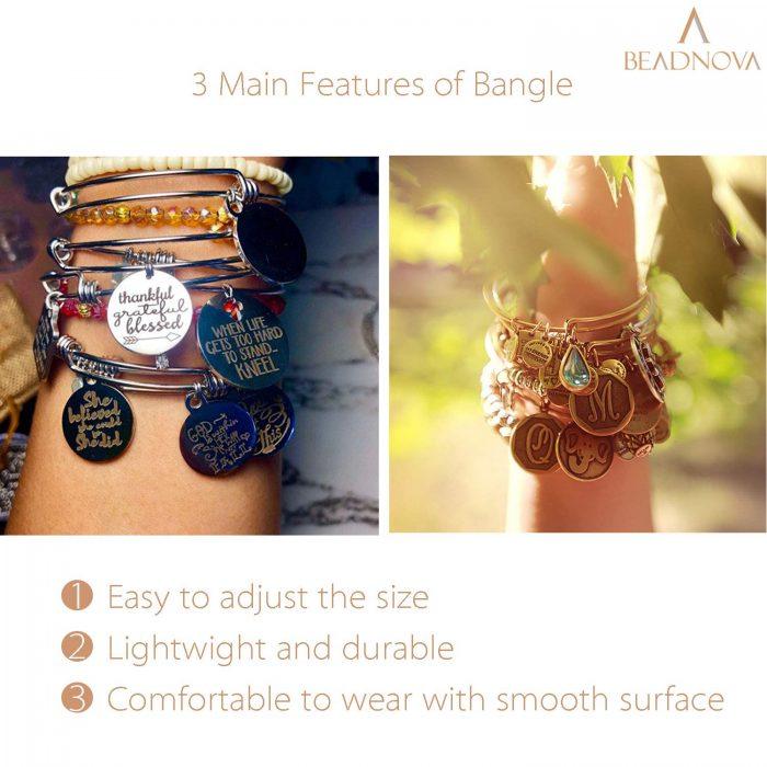 BEADNOVA Bangles for Jewelry Making 20 Pcs Gold Adjustable Bangles Expandable Bracelets for Jewelry Making DIY Craft (Gold, 20pcs)