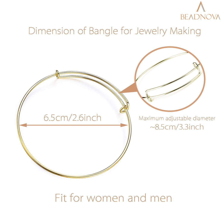 BEADNOVA Bracelet Making Bangles 40 Pcs Gold Expandable Bangle Bracelet Charm Bracelets for Jewelry Making DIY Bracelet (Gold, 40pcs)