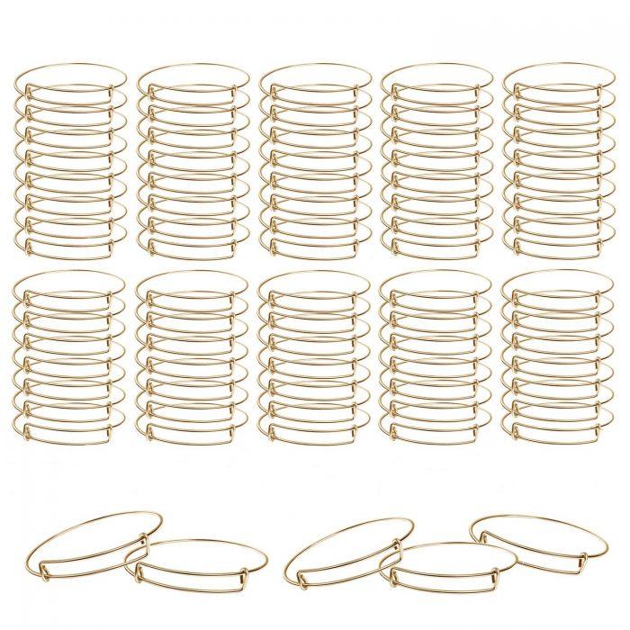BEADNOVA Bangle Bracelets 80 Pcs Gold Bracelet Making Supplies Charm Bangle Bracelets for Jewelry Making DIY Craft (Gold, 80pcs)
