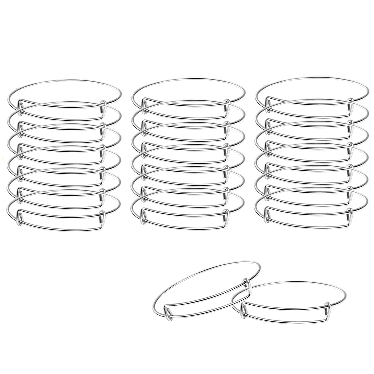 BEADNOVA Bangles for Jewelry Making 20 Pcs Silver Adjustable Bangles Expandable Bracelets for Jewelry Making DIY Craft (Silver, 20pcs)