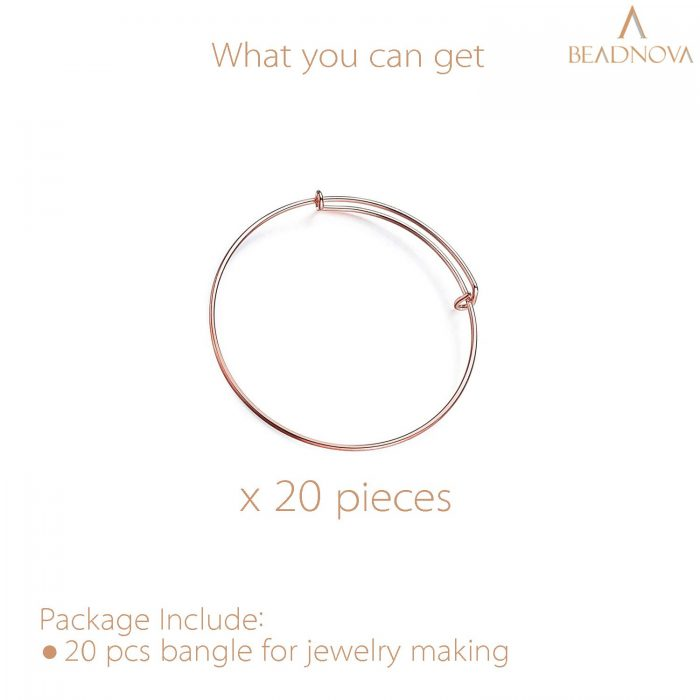 BEADNOVA Bangles for Jewelry Making 20 Pcs Rose Gold Adjustable Bangles Expandable Bracelets for Jewelry Making DIY Craft (Rose Gold, 20pcs)