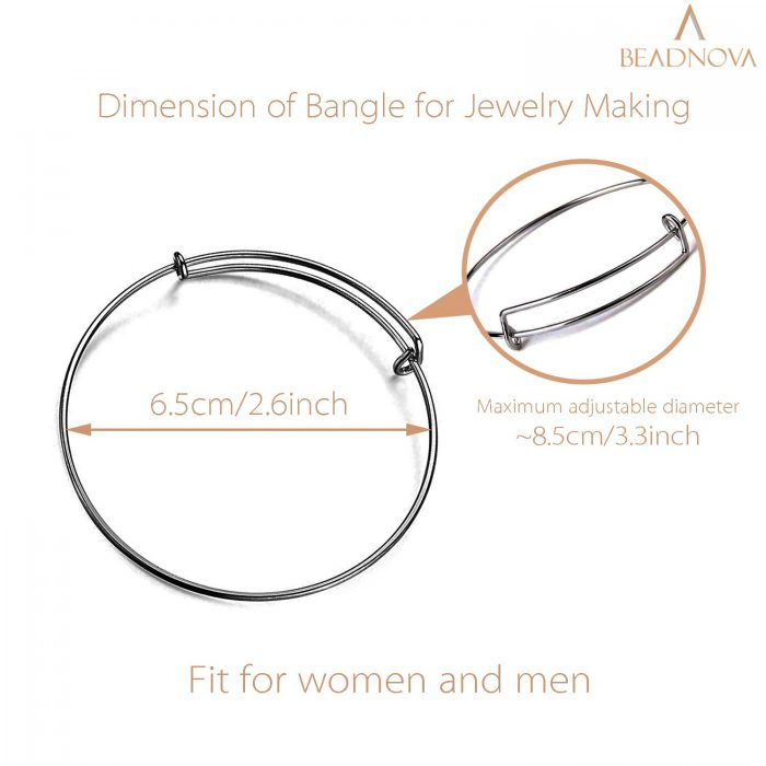 BEADNOVA Bangles for Jewelry Making 20 Pcs Gun Balck Adjustable Bangles Expandable Bracelets for Jewelry Making DIY Craft (Gun Black, 20pcs)