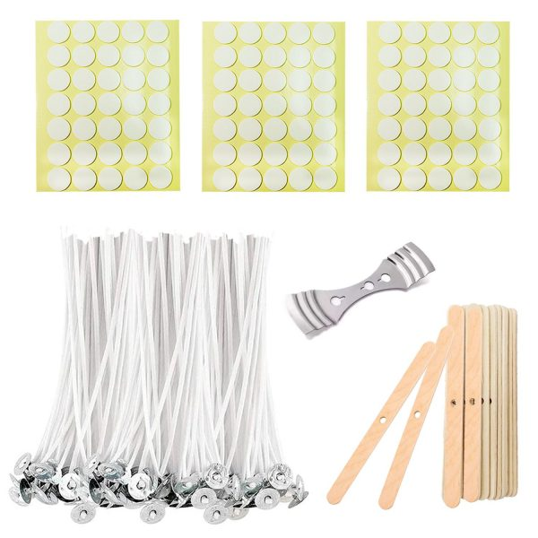 BEADNOVA Candle Wicks Set 100 Pcs 4 Inch Candle Cotton Wicks with 21 Pcs Wooden and Metal Candle Wick Centering Tool 105 Pcs Candle Wick Stickers for Candle Making Supplies DIY