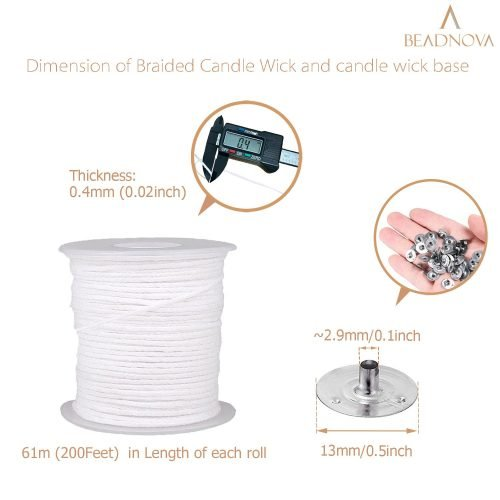 BEADNOVA Braided Candle Wick Spool with Candle Wick Base Set 200 ft Cotton Candle Wick Roll and 300pcs Candle Wick Clips Sustainer Tabs for Candle Making DIY