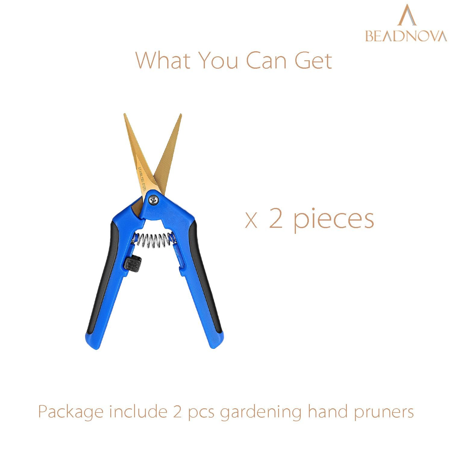BEADNOVA Trimming Scissors Gardening Scissors Pruning Snips Garden Sheers with Curved Precision Blades Plant Trimmers Pruners for Gardening (Blue, 2 Pcs)