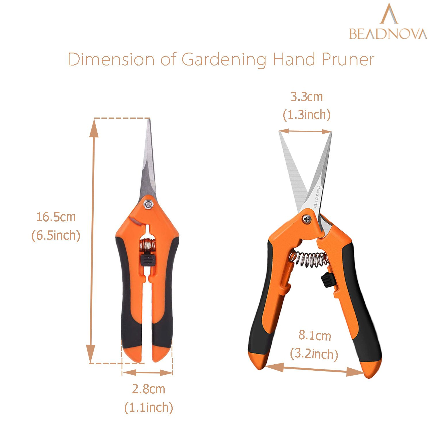 BEADNOVA Trimming Scissors Gardening Scissors Pruning Snips Garden Sheers Trim Scissors Plant Trimmers Pruners for Gardening (Green Orange, 2 Pcs)