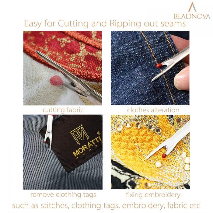 BEADNOVA Seam Ripper 4pcs Stitch Remover Big Stitch Ripper Thread Ripper Tag Remover for Clothes Crafting Sewing (4 Colors)