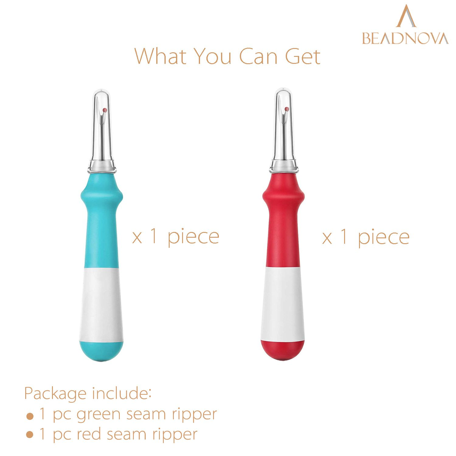 BEADNOVA Seam Ripper 2pcs Thread Cutter Stitch Remover Large Thread Remover Stitch Eraser Tag Remover for Clothes Crafting Embroidery