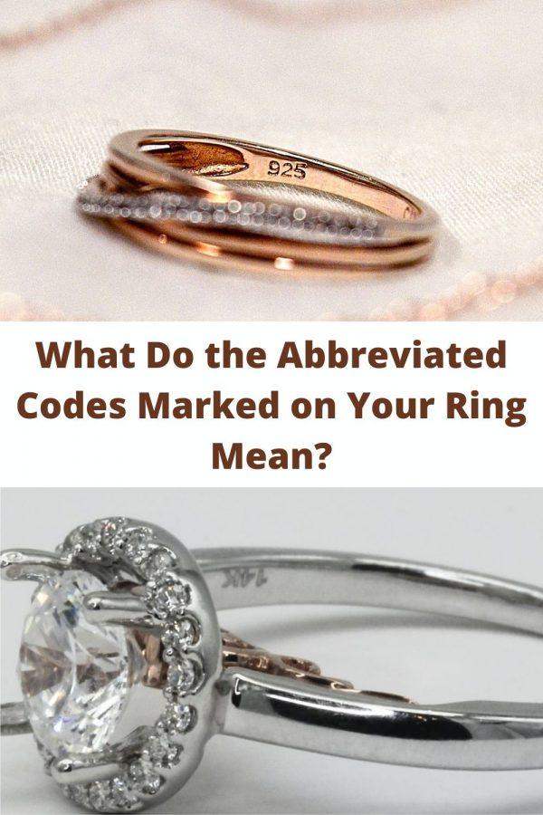 Сокращенные коды, нанесенные на мое золотое кольцо с бриллиантом, означают